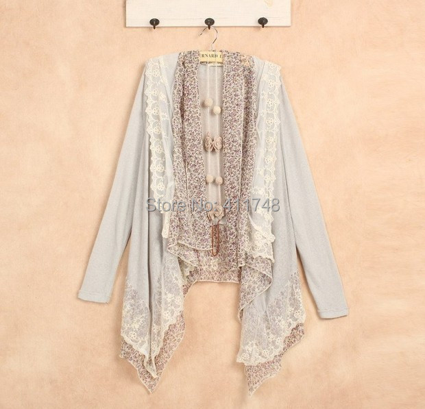 Harajuku Mori Girl Chiffon Jacket Cardigan Lolita Long Sleeve Lace ...