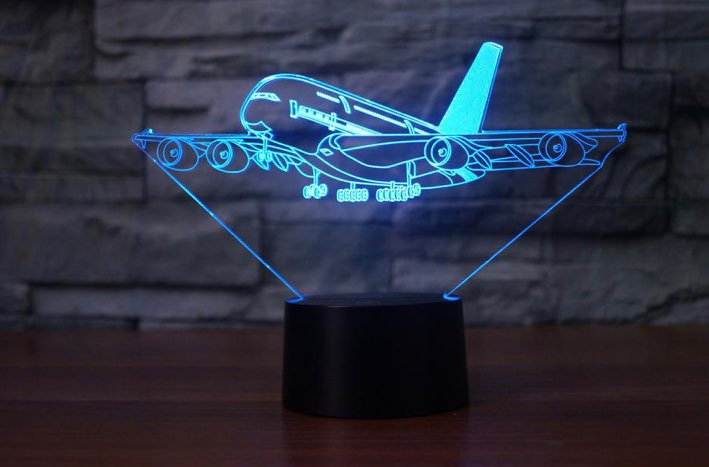 3d led night light lamp airplane image