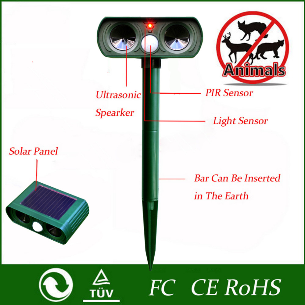 1pcs 2017 Green Garden Cat Dog Pest Repeller Solar Power Ultra Sonic Scarer Frighten Animal Repellent Outdoor Use