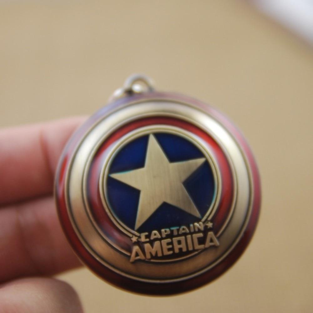 Новинка! Горячая Распродажа! Супер герой Марвел, Капитан Америка, подвеска, брелок для ключей, llaveros, металлический, Мстители, косплей, брелок, ювелирные изделия - Цвет: Bronze