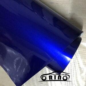 Filme metálico lustroso do vinil de 50cmx150cm folha azul do envoltório do carro do brilho dos doces com bolha de ar livre adesivo brilhante do veículo