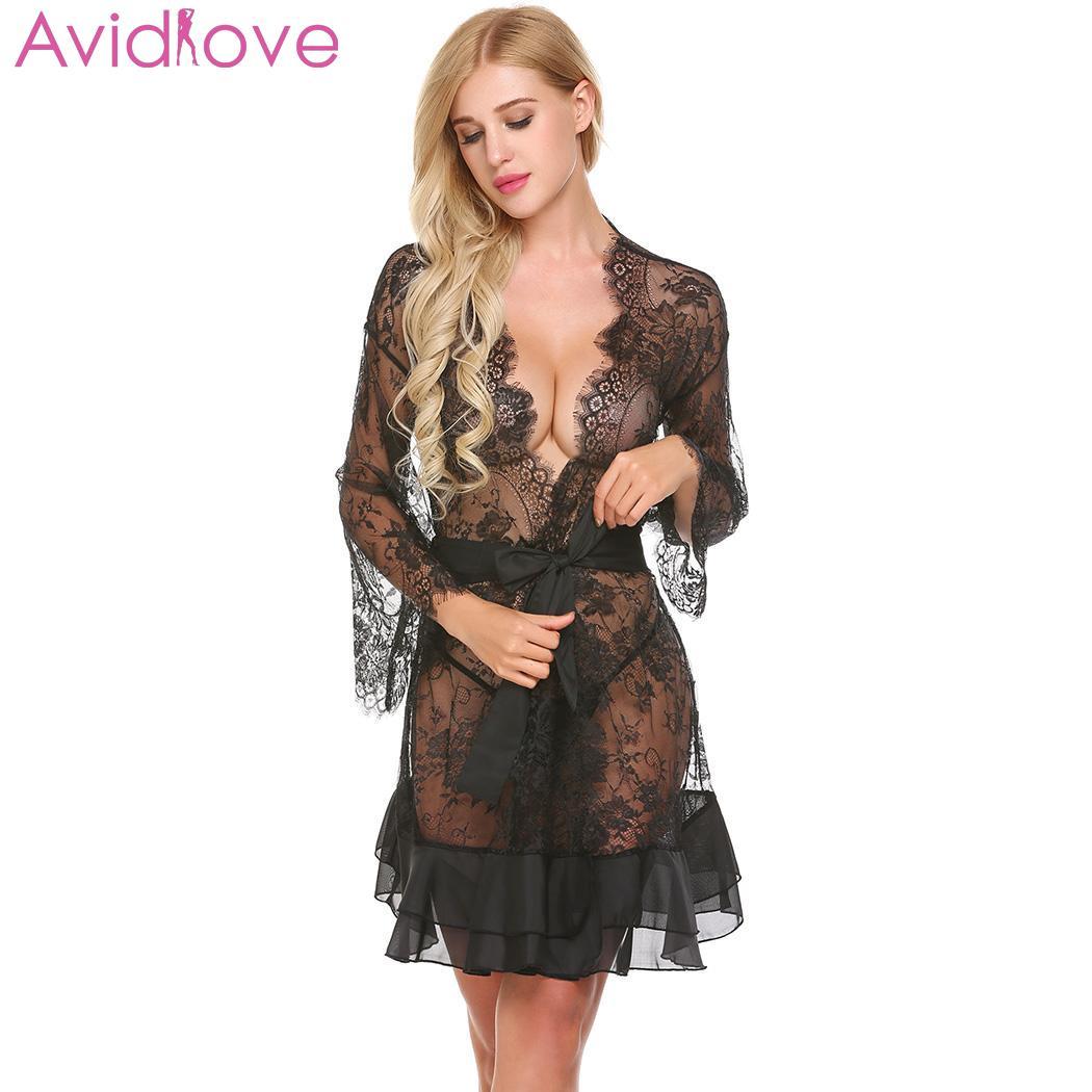 Avidlove Sexy ropa interior Erotic Lingerie v-cuello manga Tanga mujeres  Sexy Patchwork Lace Robe ropa de dormir ropa interior Pijamas 5299dc30e439