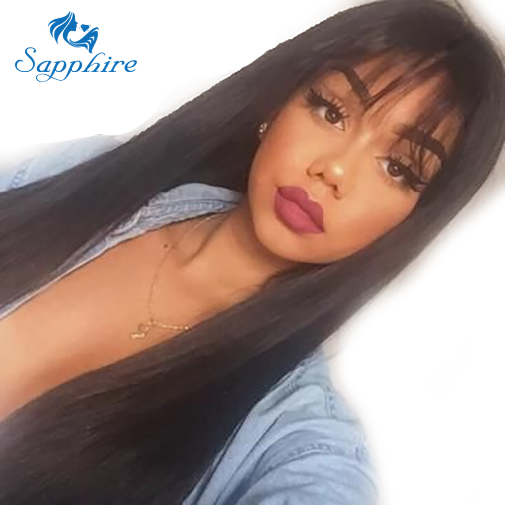 Sapphire Remy Hair Wigs With Bang Long Straight Hair Wigs 100 Brazilian Remy Human Hair Wigs
