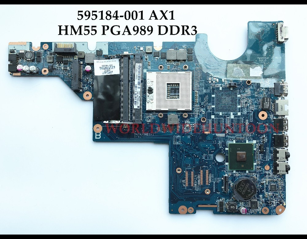Wholesale High quality Laptop Motherboard for HP CQ42 CQ62 595184-001 DA0AX1MB6H1 HM55 PGA989 DDR3 Fully Tested&Free shipping 683495 001 for hp probook 4540s 4441 laptop motherboard pga989 hm76 ddr3 tested working