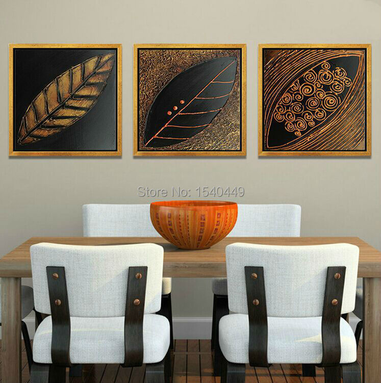 3 piece hand made black brown hues leaf oil painting for Set of three canvas paintings