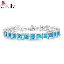 CiNily синий и белый огненный опал камень широкий звено цепи браслеты и браслеты с серебряным покрытием металлические квадратные Роскошные ювелирные изделия женщина девушка