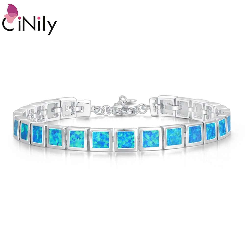 CiNily Blue & White Fire Opal Stone Wide Chain Link Bracelets & Bangles Silver Plated Metal Square Luxury Jewelry Woman Girl