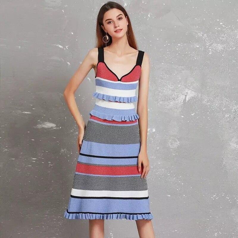 Micosoni 2019 Summer New Women s Red Blue White Black Stripe V neck Sleeveless Ruffles Spaghetti