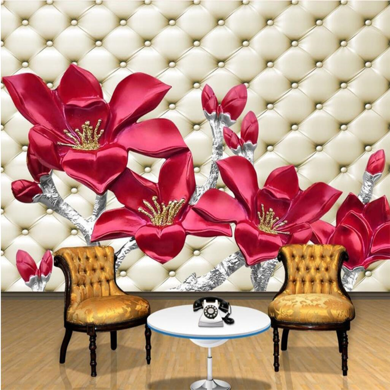 Beibehang Customize Any Size Wallpapers Frescoes Photo Embossed Soft Pack 3D Embossed Peony Swan Lake Mural Backdrop Wall