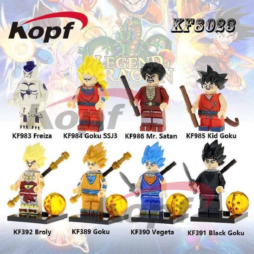 KF8023 Dragon Ball Z Figures Mr. Satan Vegeta Super Sayayin God Black Goku SSJ3 Building Blocks Action For Children Toys Gift 12pcs set children kids toys gift mini figures toys little pet animal cat dog lps action figures