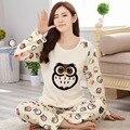 Inverno pijama de flanela mulheres long-sleeved coruja de alta qualidade coral fleece espessamento agasalho pijama feminino