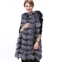2018 Women Natural Fox Fur Vest with 90CM Long Fashion Vest Silver for Real Fur Vest