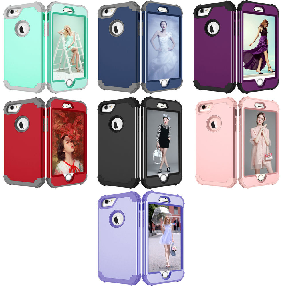 Shockproof Phone Cases For iPhone 6 6S 7 Plus For Galaxy S8 Case Durable PC+TPU 3 Layers Hybrid Full Protect Armor Phone Shell