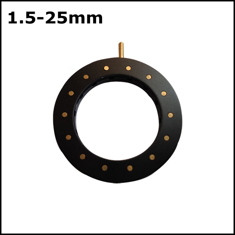 1.5-25mm Amplifying Diameter Zoom Optical Iris Diaphragm Aperture Condenser with 14 Blades for Digital Camera Microscope Adapter