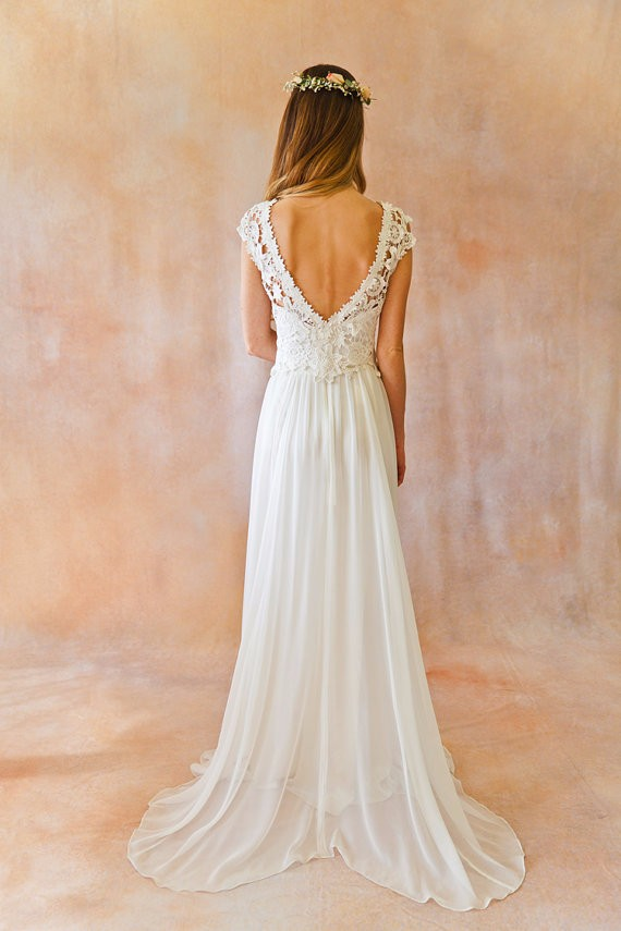 2017 New Elegant A line Bateau Cap Sleeve vestido de noiva Lace Wedding Dress robe de mariage Sexy Backless Boho Wedding Dresses 3