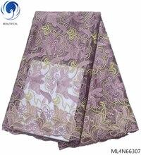 BEAUTIFICAL 2019 fabric lace rhinestone nigeria nigerian wedding african mesh hot 5yards/lot ML4N663