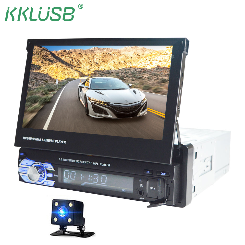 HD 7 Inch Retractable Touch Screen Car Monitor 1 DIN Auto