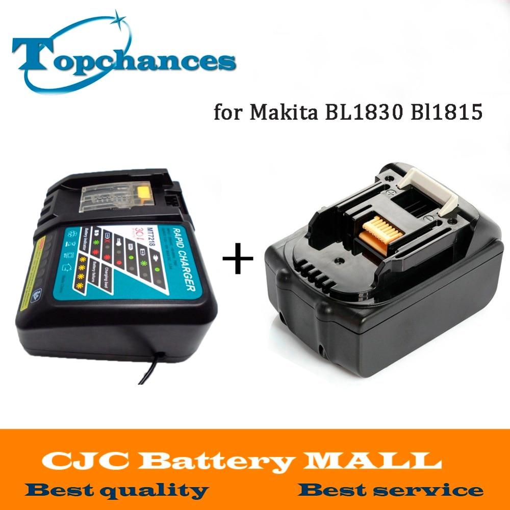 Di alta Qualità di Marca NEW 3000 mah 18 VOLT Li-Ion Batteria Strumento di Potere per Makita 18 v BL1830 Bl1815 194230- 4 LXT400 + Charger