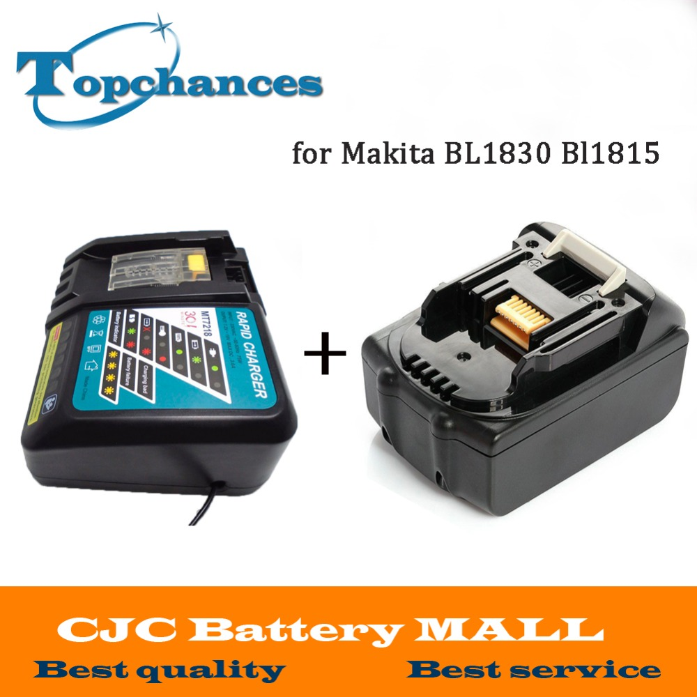 High Quality Brand NEW 3000mAh 18 VOLT Li-Ion Power Tool Battery for Makita 18V BL1830 Bl1815 194230-4 LXT400 + Charger high quality brand new 3000mah 18 volt li ion power tool battery for makita bl1830 bl1815 194230 4 lxt400 charger
