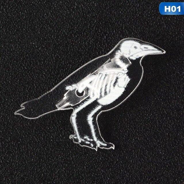 Cute Animal Skeleton Lapel Pin Broochs Penguin Pig Cat Birds Enamel Badge B1