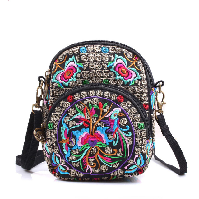 cotton cloth flower embroidery ethnic handbag vintage hmong embroidery women female hand mini small Satchel Bag messenger bags