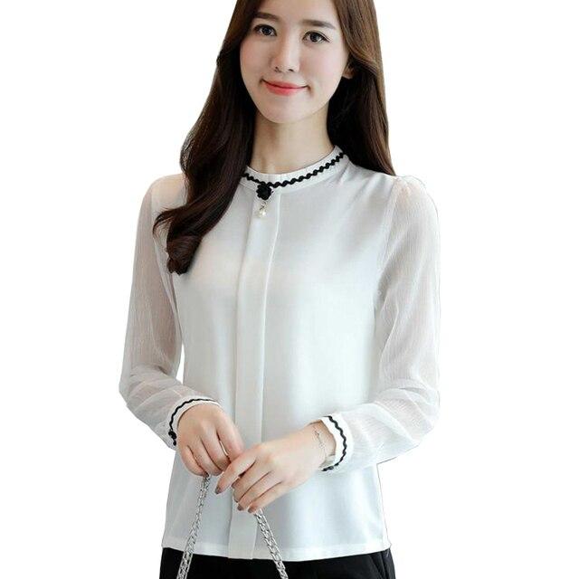 5edf01881c904 O-cuello de La Gasa Blusas Para Mujer Otoño 2017 Moda Venta Caliente  Elegantes Camisas