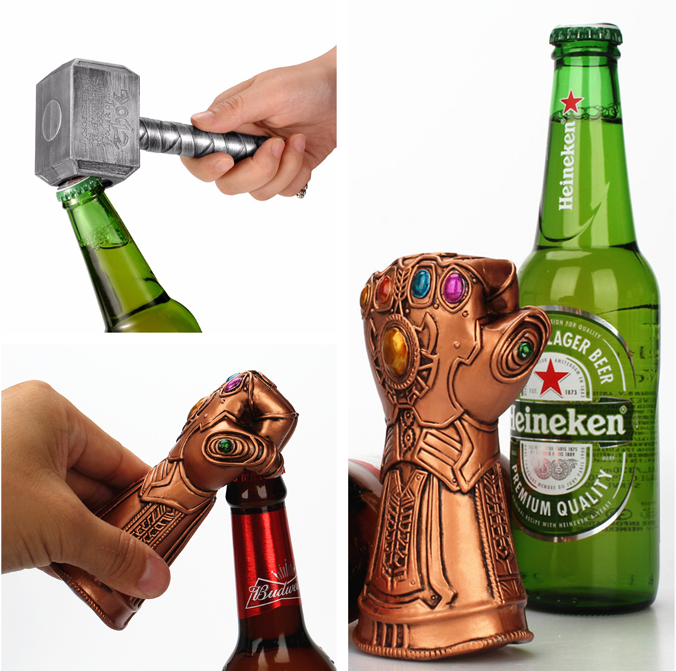 The Avengers Beer Bottle Openers Multifunction Hammer Of Thor Shaped Beer Bottle Opener With Long Handle Bottler Keychain