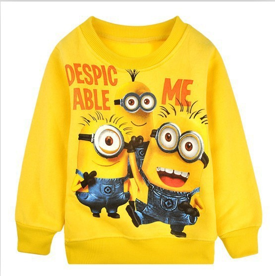 2017-New-1pcs-baby-boys-girl-Cartoon-design-round-minion-collar-fleece-children-wear-t-shirts-Childrens-clothes-ATX014-2