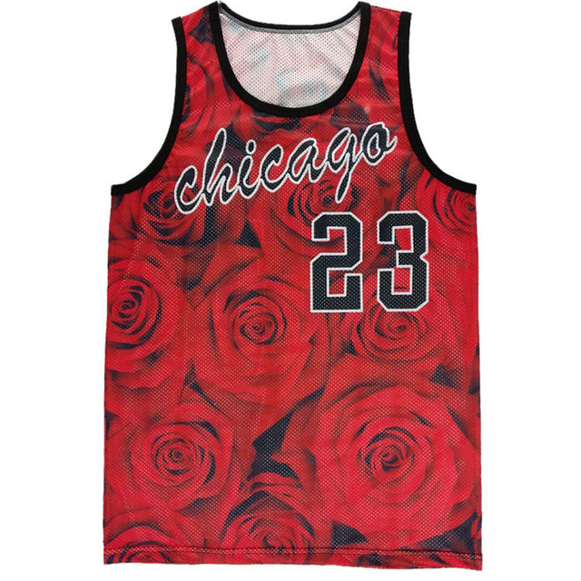 c6ecb523f1cb New women men tank tops mesh surface quick-drying vests unisex jersey rose  floral Jordan 23 print 3d tops clothing free shipping. 1 order
