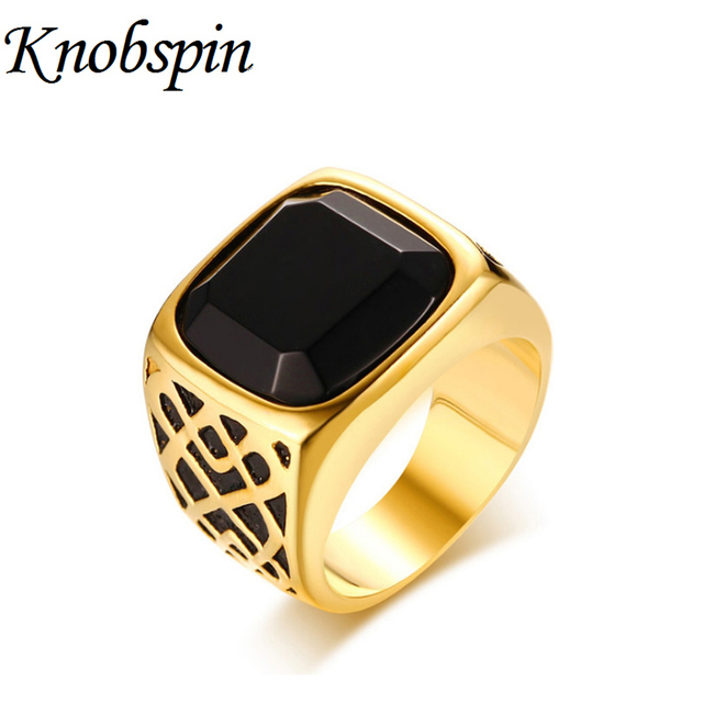 knobspin vintage black onyx wedding ring gold color stainless steel ring fashion simple jewelry high quality - Onyx Wedding Ring