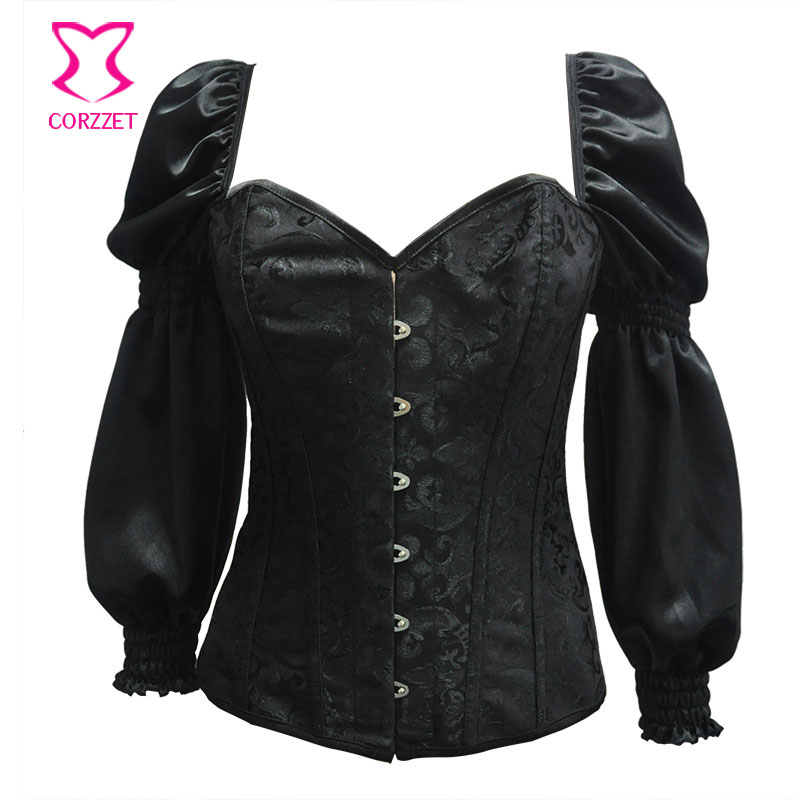 Black Long Puff Sleeve Plus Size   Corsets   And   Bustiers   Vintage Victorian   Corset   Sexy Korsett For Women Steampunk Gothic Clothing