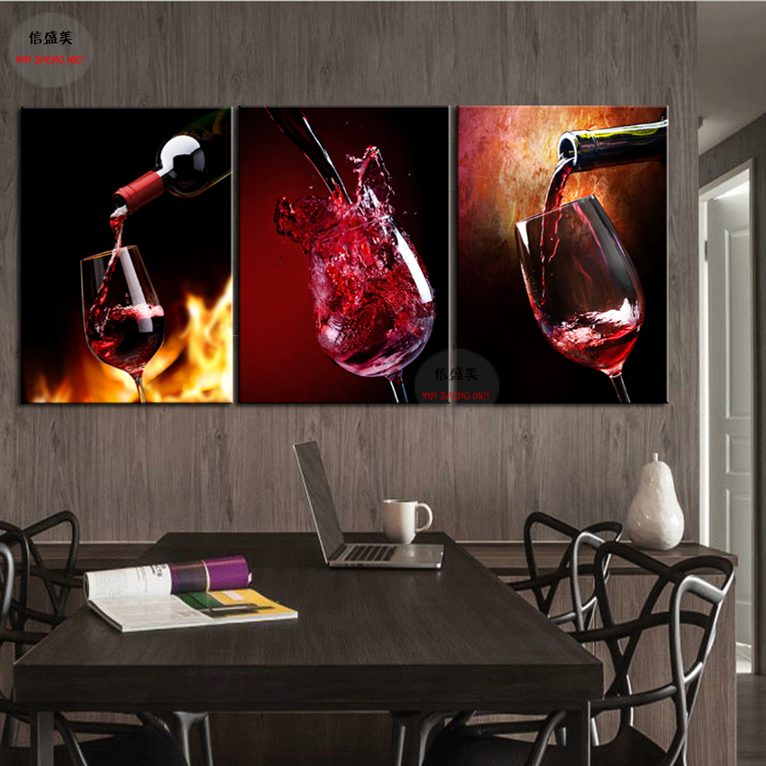 Hd printed modern wine bottle painting wall picture for for Best brand of paint for kitchen cabinets with diy dragonfly wall art
