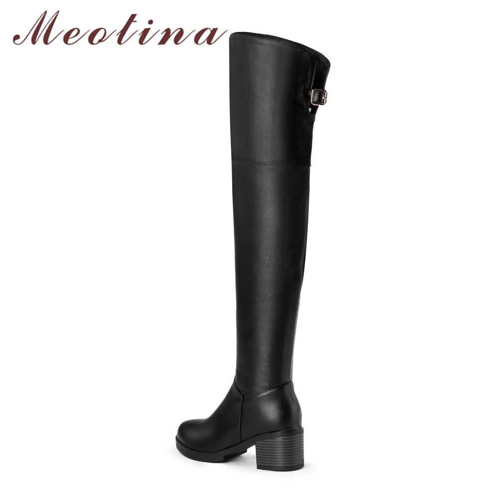 Meotina Uyluk Yüksek Çizmeler Kış Diz Çizmeler üzerinde Kadın Kare Yüksek Topuklu Uzun Çizmeler Zip Bayanlar Uzun Ayakkabı Siyah kahverengi 34-43