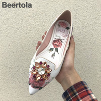 Print Flower Flat Dress Shoes Woman Fashion Crystal Floral Women White Pointed Toe Single Shoes Flats Rhinestone Large Size Shoe