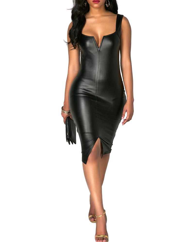 Hitmebox 2018 Sexy Women's Pu Leather Sleeveless Straps Off Shoulder Bodycon Pencil Party Night Club Tube Bandage Midi Dress