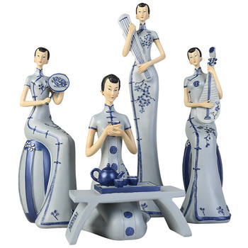 Chinese Style Tray Lady Resin Craft Figurine Living Room Study Blue And White Porcelain Decorations Housewarming Gift Home Decor