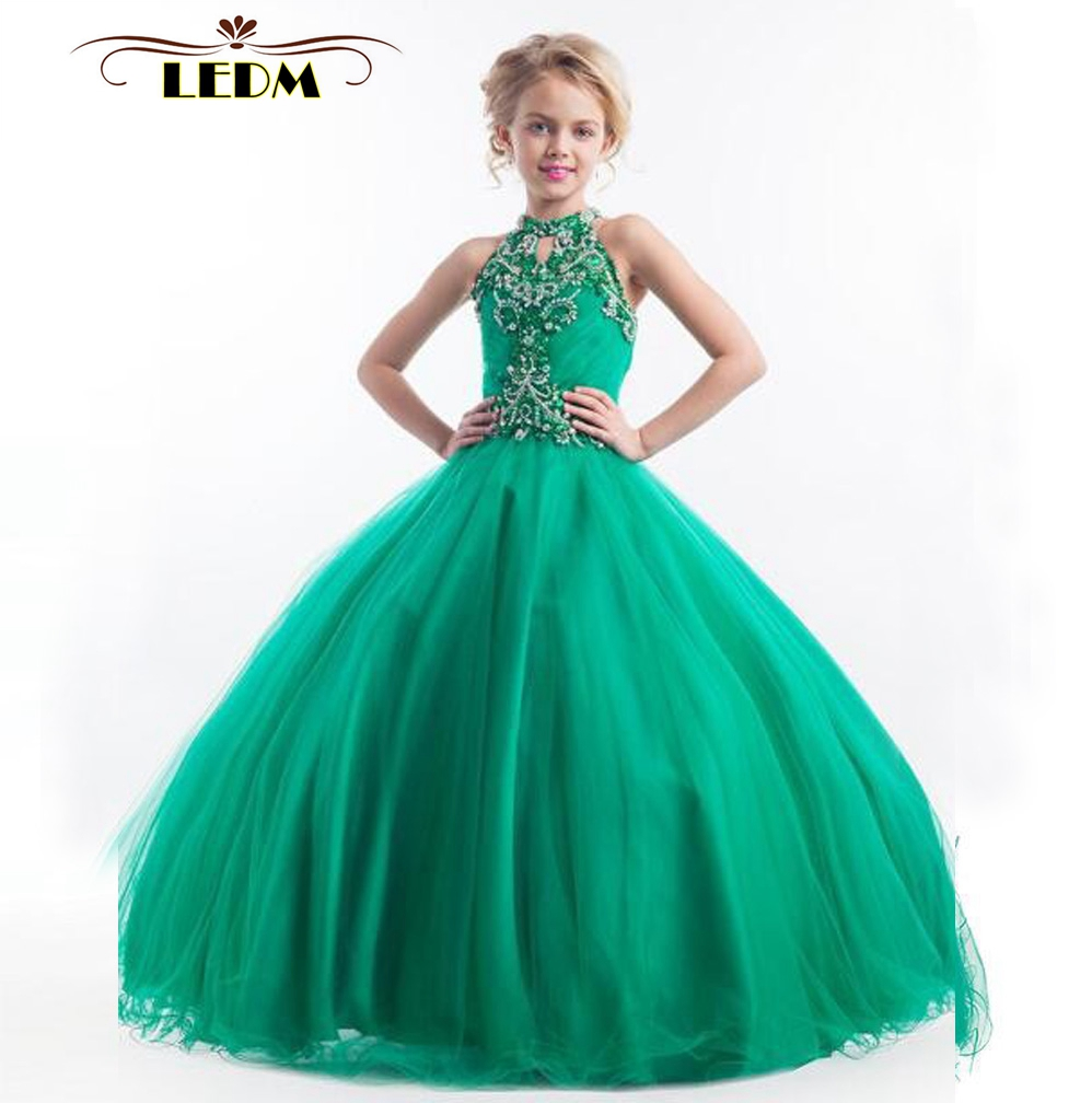 Kids Evening Gowns2020 New High Neck Crystal Green Puffy Dresses For Kids Prom Custom First Communion Dresses For Girls
