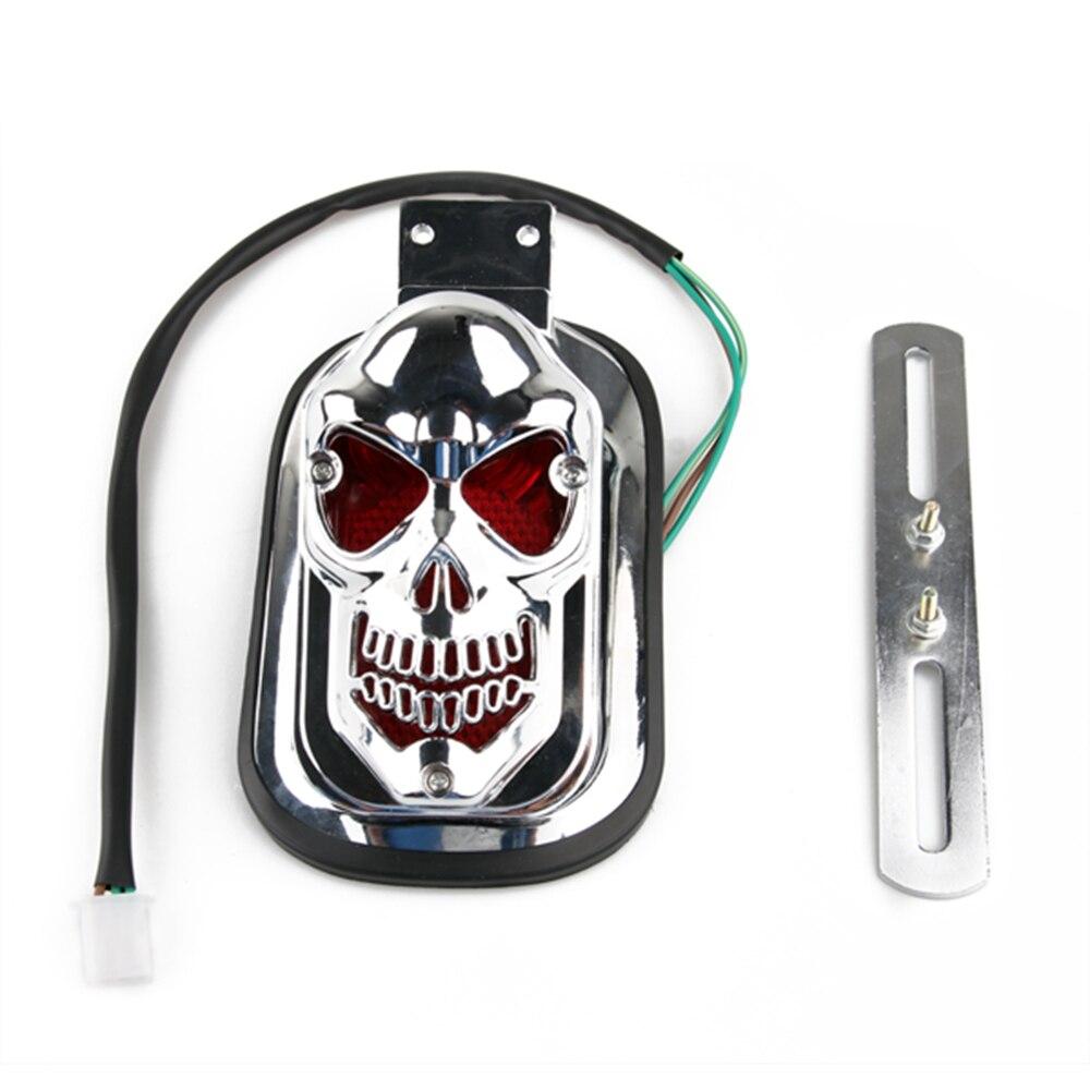 Skull Taillight Tail Light License Plate Bracket for Harley Motorcycle Cafe Racer