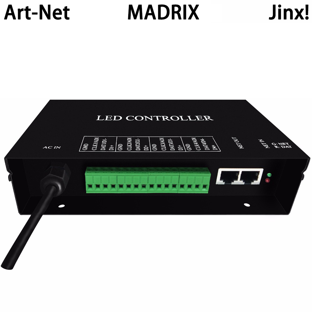 led artnet controller supports artnet protocol,4 universes,each universe supports 680 pixels,work with MADRIX,Jinx!,etc dmx512 digital display 24ch dmx address controller dc5v 24v each ch max 3a 8 groups rgb controller