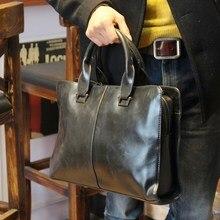 Nouveau 2015 Crazy horse PU porte-documents en cuir ordinateur Portable Sac marque sac à main D'affaires Hommes Voyage Sacs Rétro Porte-Documents brun noir