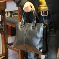 New 2018 Crazy horse PU leather briefcase computer Laptop Bag brand Business handbag Men Travel Bags Retro Briefcase brown black