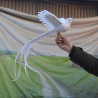 Large 30x50cm Foam Feathers Long Tail White Phoenix Bird Pastoral Handicraft Home Garden Decoration Gift A1790