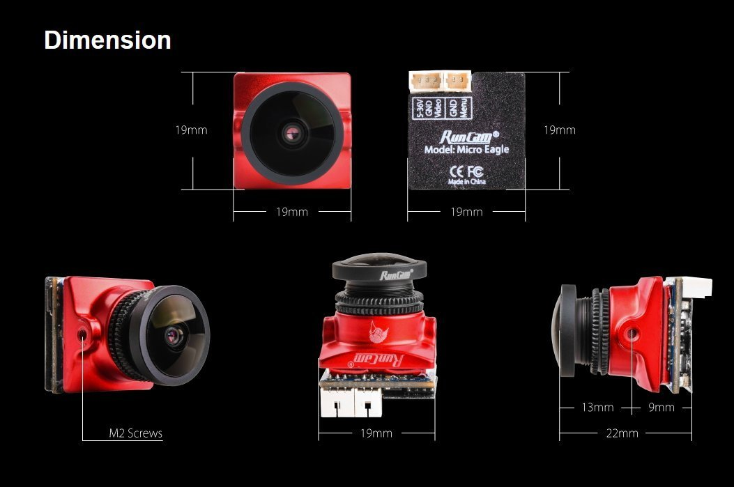 RunCam Micro Eagle FPV Camera 800TVL NTSC/PAL 4:3/16:9 Switchable Global WDR Micro CMOS Cam for FPV Racing Drone