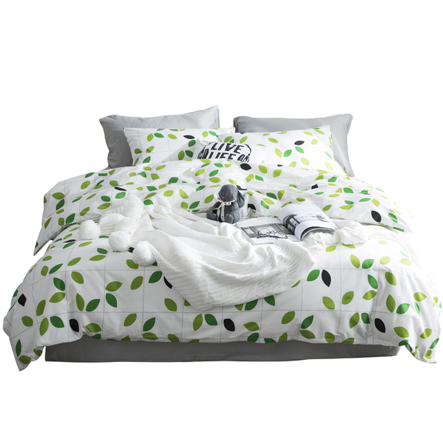 100% Cotton Bedding Set Single Double Queen Size Diagonal Duvet Cover Quilt Cover Pillow Cases Leaves Letters 3pcs