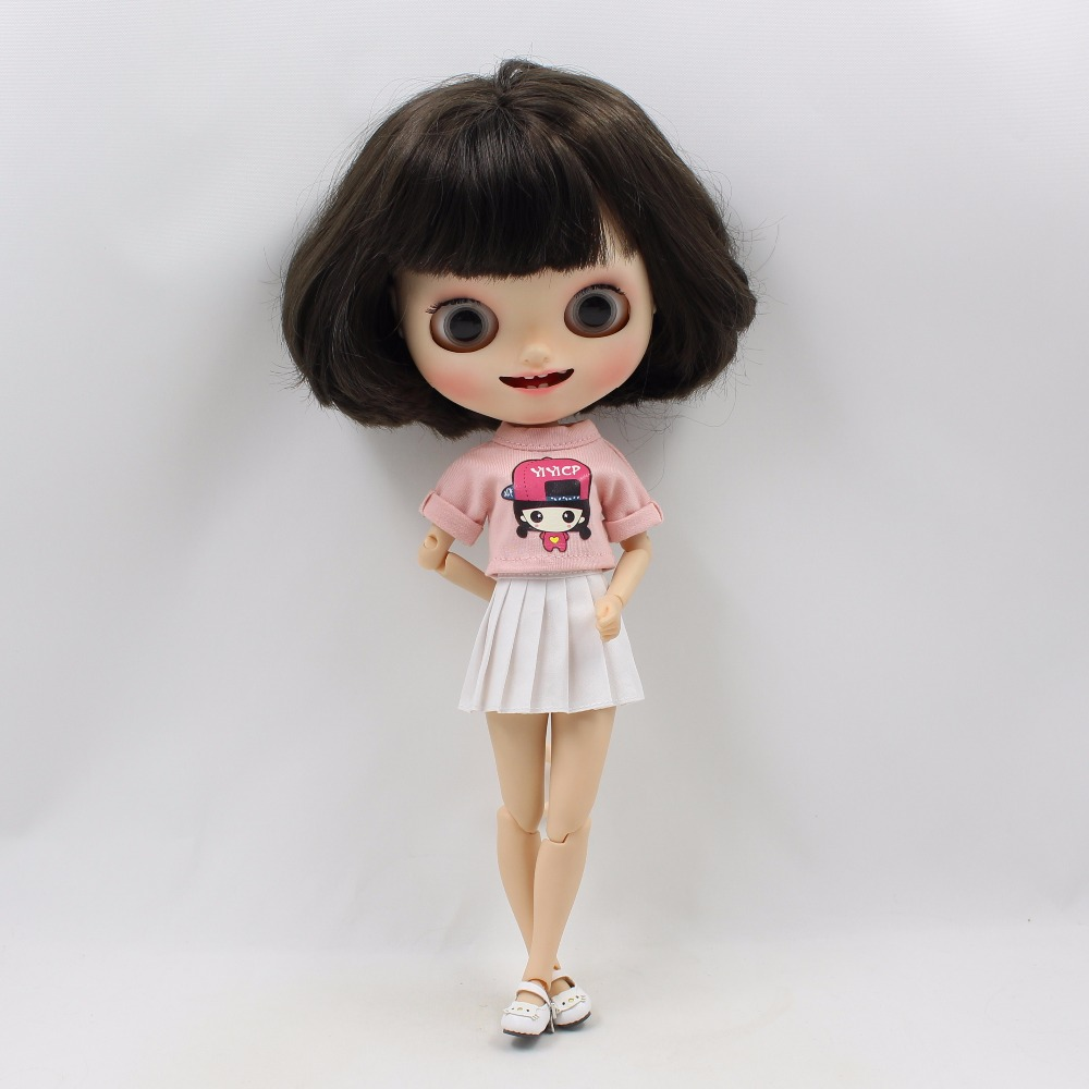 Neo Blythe Doll Pink Shirt White Skirt 1