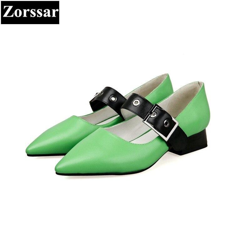 Moda Puntiagudos Tacón Negro De Verde verde Sandalias Real Jane Bajo Mary Mujer Tacones Altos Cuero Bombas Zapatos {zorssar} 58wax7g7