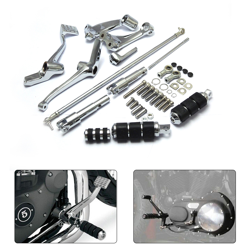 Chrome Forward Controls Kit Pegs Levers Linkage For Harley Sportster 883 1200 Custom Roadster Low Nightster 2004-2013 for harley sportster 883 1200 chrome forward controls kit pegs levers linkage