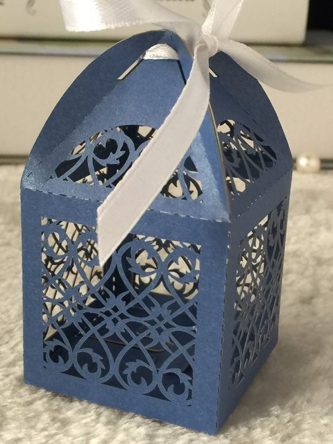 300pieces Sea Blue Wedding Gift Candy Bo With Ribbon Laser Cut Favour For Party Favor