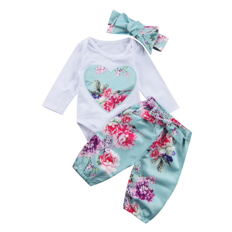 2017 New Style Newborn Baby Girls Clothes Cotton Lovely Flower Long Sleeve Romper+Long Pants+Headdress Baby Clothing Set 0-24M