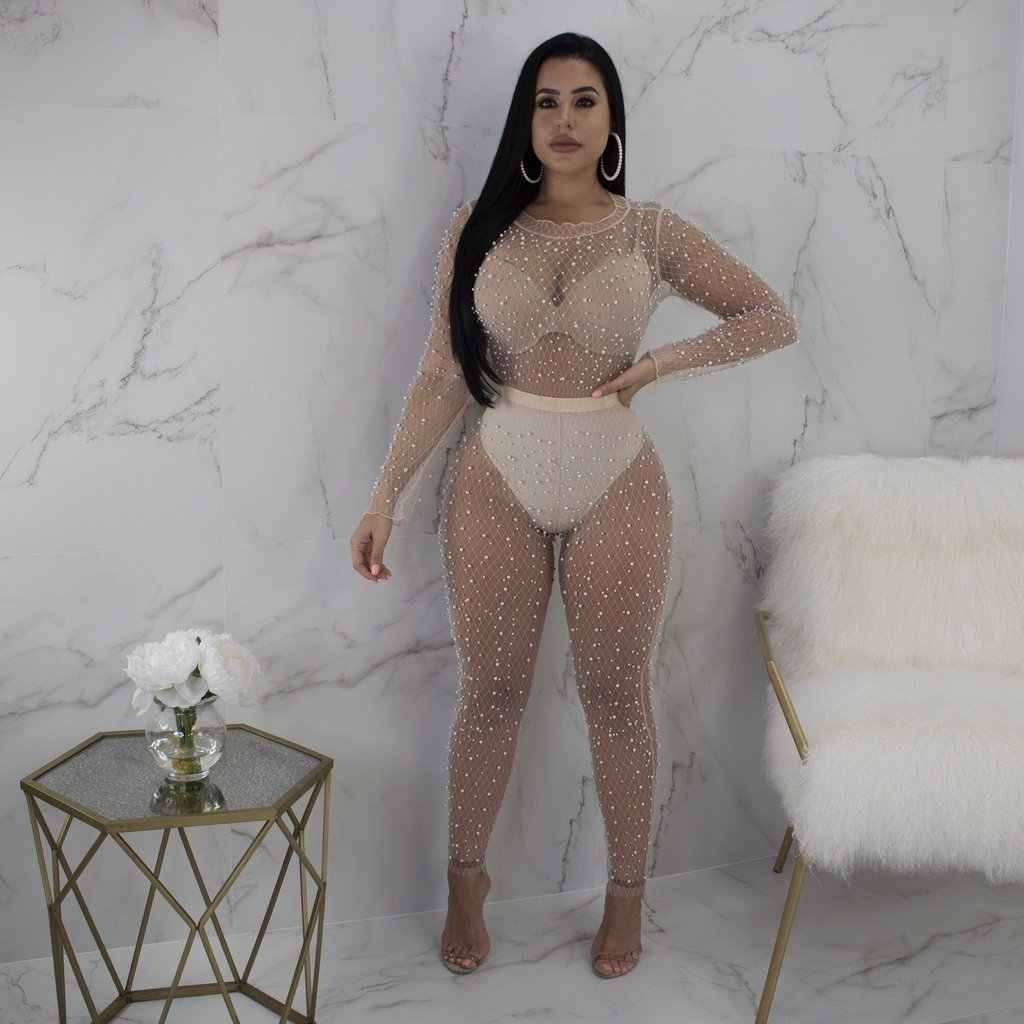 Mesh Hollow Out Rompers Womens Jumpsuit Long Sleeve Pearls See Through Clubwear Party Bodycon Jumpsuits Overalls 2018 For Women
